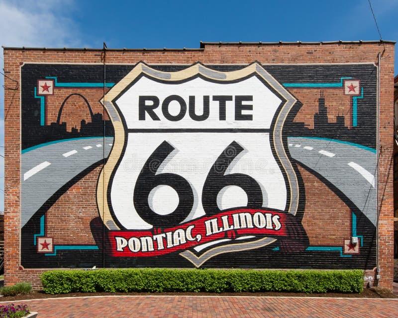 Трасса 66: Pontiac, настенная роспись Иллинойса стоковая фотография rf