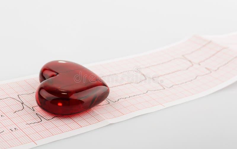 Трассировка ИМПа ульс Cardiogram и концепция сердца для сердечнососудистого медицинского обследования стоковые фото