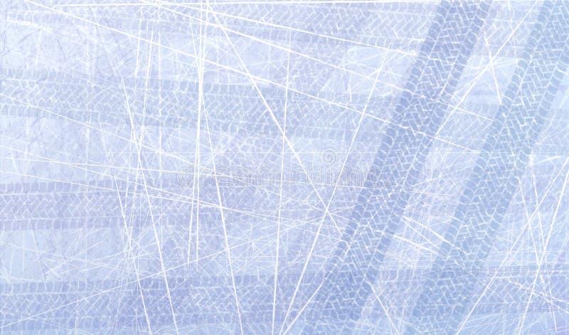 Трассировки автошин автомобиля на льде Текстура поверхности льда След с отдельной текстурой grunge, метками автошины, профилем ши иллюстрация вектора