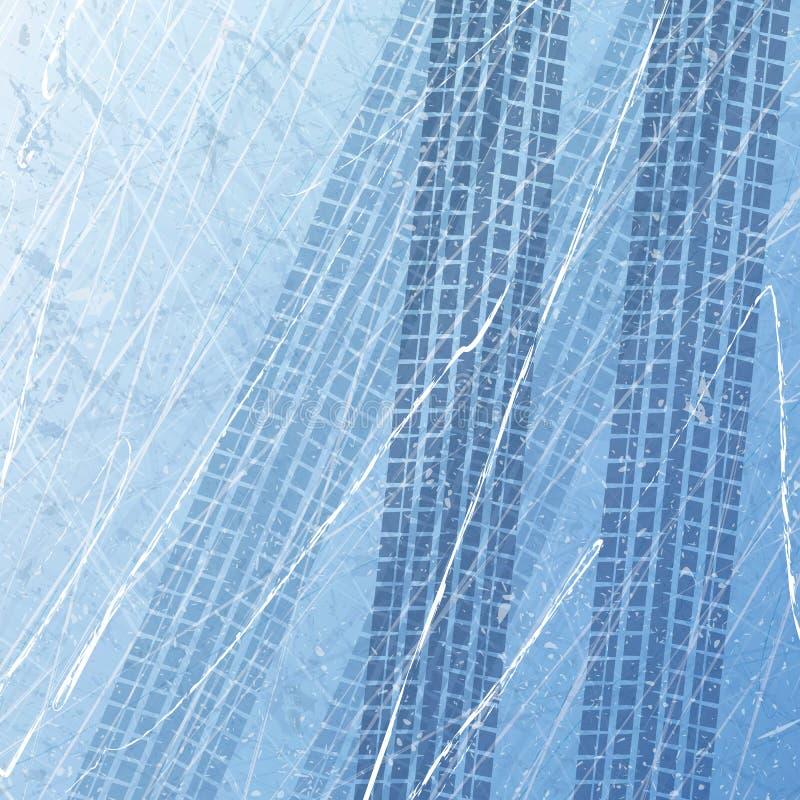 Трассировки автошин автомобиля на льде custom motorcycle Печати автомобиля в льде Текстура поверхности льда След с отдельным grun иллюстрация вектора