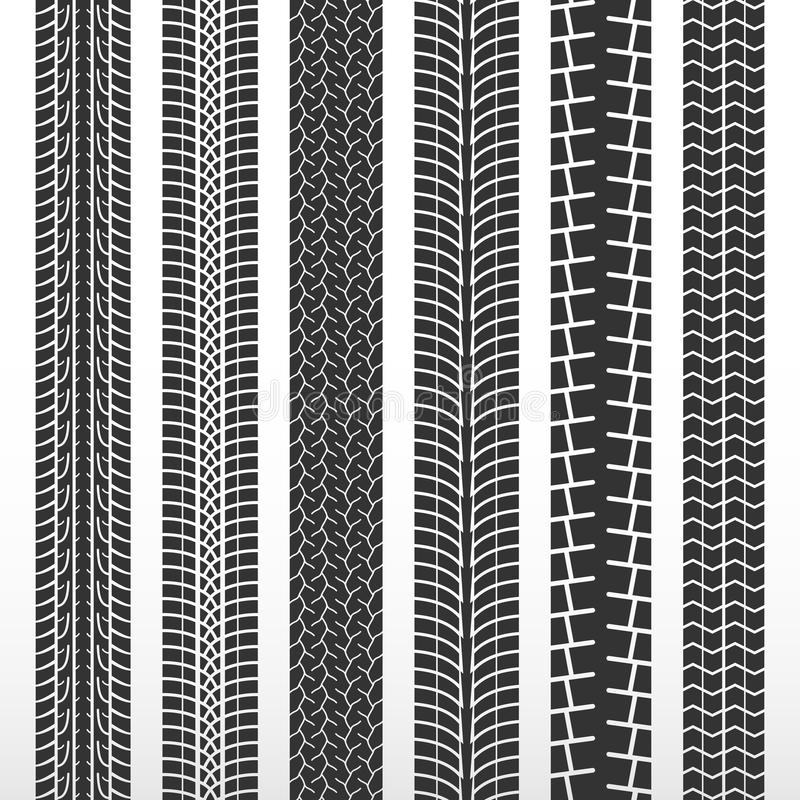 Трассировки автошин Комплект автомобиля автошин Автошина картины черная для автомобиля бесплатная иллюстрация