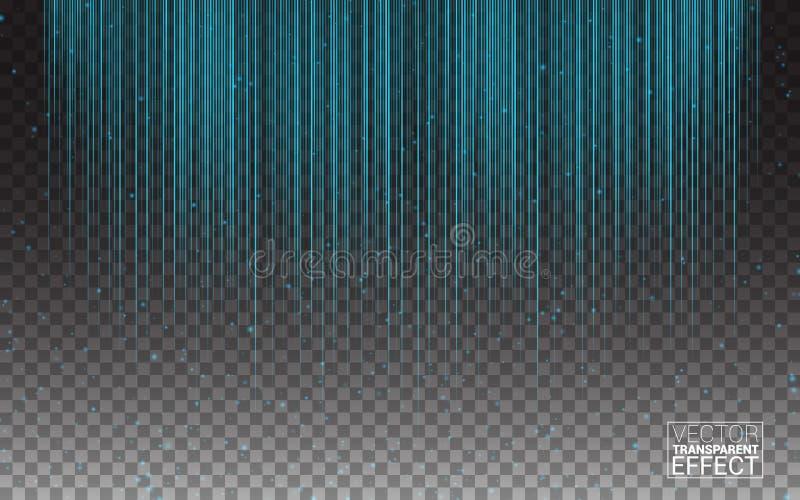Трассировки лучей голубых нашивок вспышки неонового света сверкная Накаляя влияние светлого зарева цепей световых маяков линейное бесплатная иллюстрация