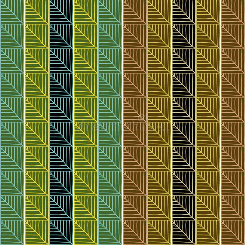 Традиционная африканская орнаментальная картина Стилизованная безшовная текстура с треугольниками или листьями дерева иллюстрация штока