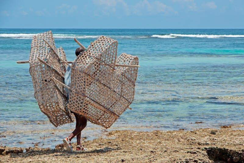 Традиционная ловушка рыб - Занзибар стоковая фотография rf
