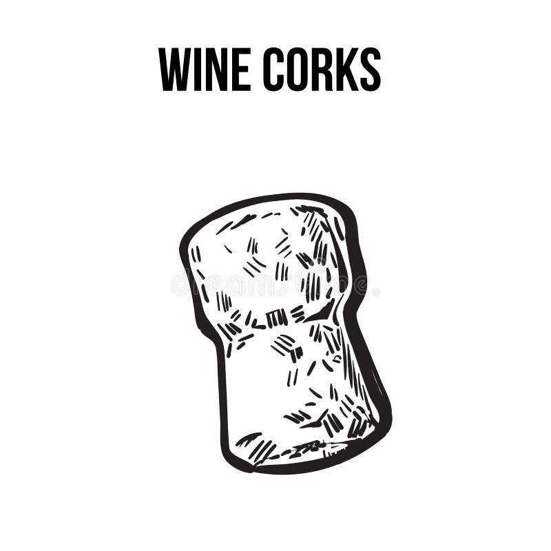 Традиционная пробочка вина или шампанского, иллюстрация вектора стиля эскиза иллюстрация штока