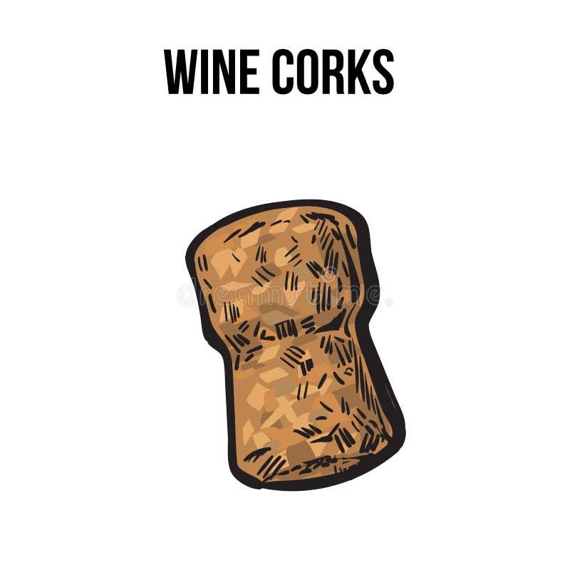 Традиционная пробочка вина или шампанского, стиль эскиза изолировала иллюстрацию вектора иллюстрация штока