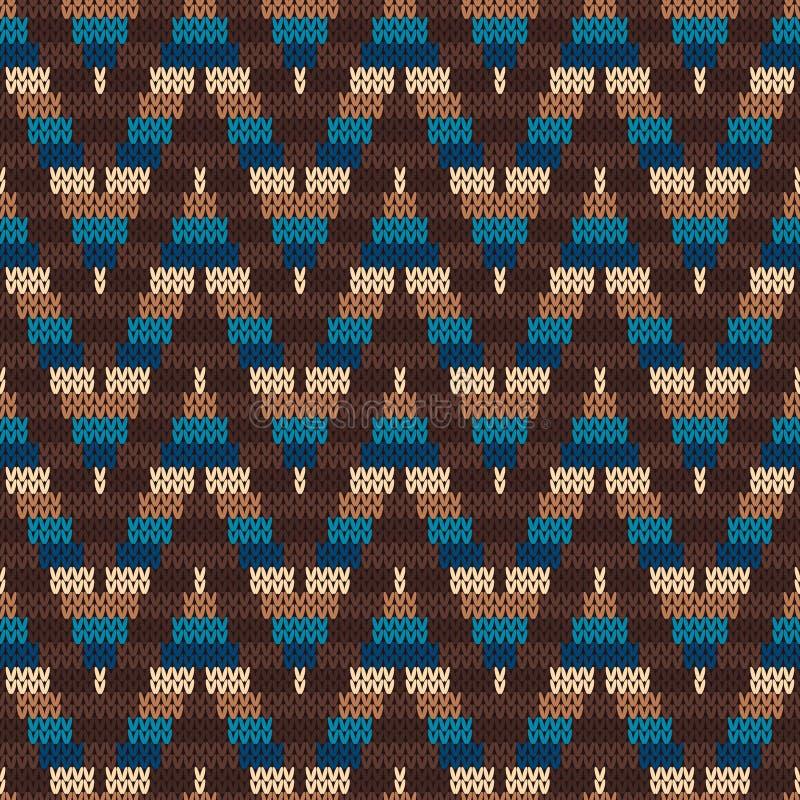 Традиционная справедливая картина острова Безшовный вязать орнамент иллюстрация вектора