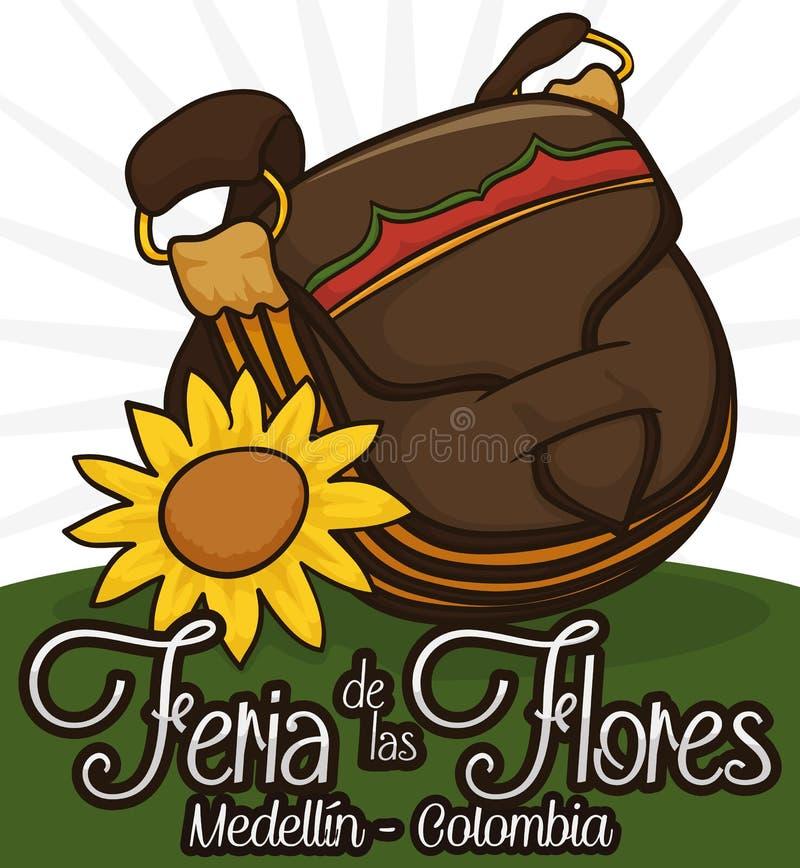 Традиционная сумка и солнцецвет Carriel для того чтобы отпраздновать колумбийский фестиваль цветка, иллюстрацию вектора бесплатная иллюстрация