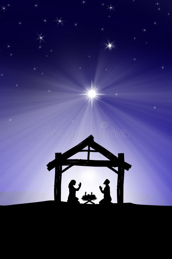 Традиционная христианская сцена рождества рождества с 3 wi бесплатная иллюстрация