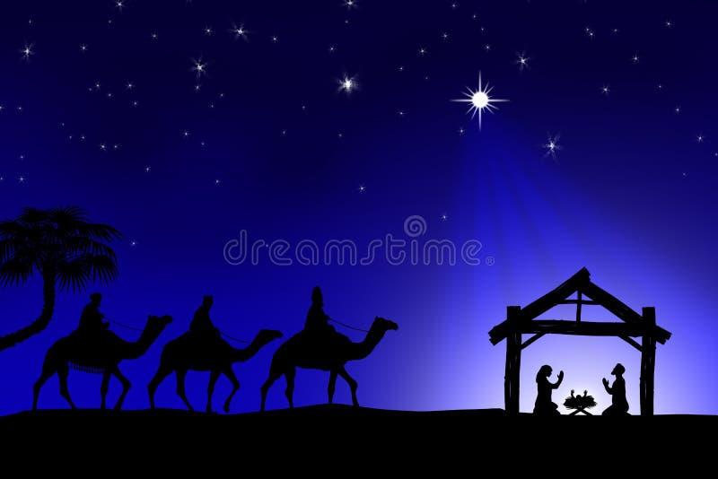 Традиционная христианская сцена рождества рождества с 3 wi иллюстрация вектора
