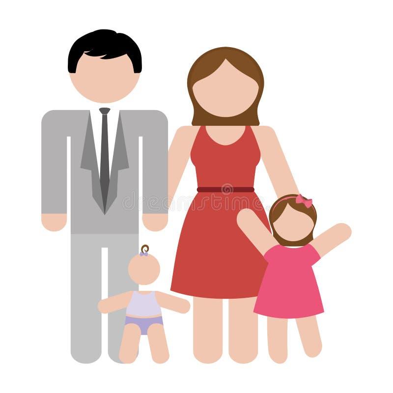 Download Традиционное изображение значка семьи Иллюстрация вектора - иллюстрации насчитывающей малыш, женщина: 81800710