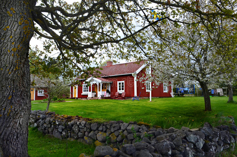 традиционное дома шведское стоковая фотография