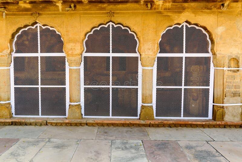 Традиционное украшение окна на Chand Baori стоковое фото