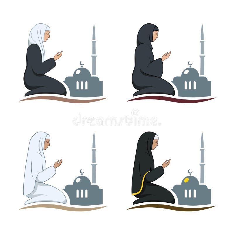 Традиционно одетая мусульманская женщина делая прошение бесплатная иллюстрация