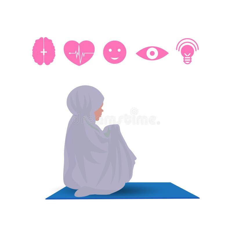 Традиционно одетая мусульманская женщина делая salah прошения пока сидите вниз иллюстрация вектора