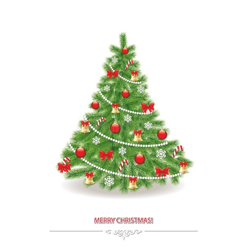 Традиционно украшенная реалистическая рождественская елка иллюстрация штока