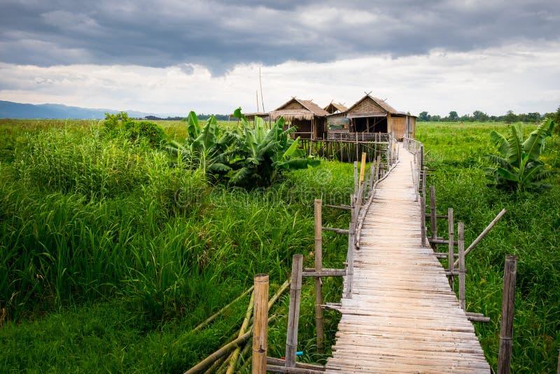 Традиционные азиатские местные дома фермы и деревянный мост, озеро Inle стоковое фото