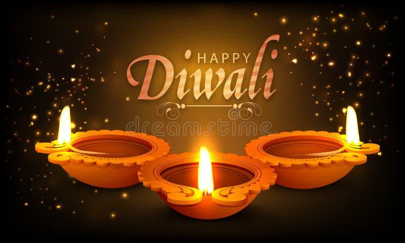 Традиционные загоренные освещенные лампы для счастливого Diwali иллюстрация вектора