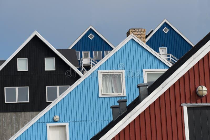 Традиционные дома в Nuuk, Гренландии стоковое изображение rf