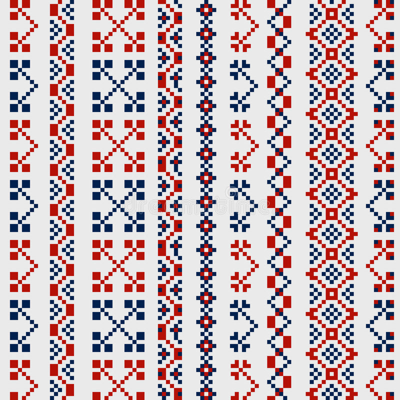 Традиционные русские орнаменты для вышивки на одеждах иллюстрация штока