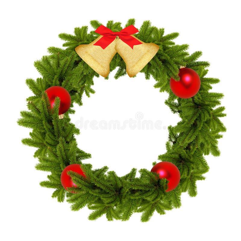 Традиционный зеленый венок рождества с золотыми колоколами и красным bal стоковые фотографии rf