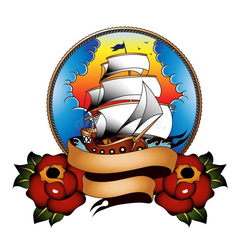 Традиционный корабль с розами стоковые фото