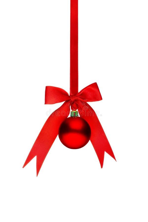 Традиционный красный шарик рождества стоковое фото