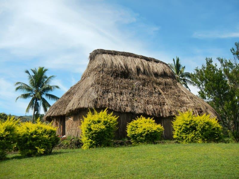 Традиционный дом деревни Navala, Viti Levu, Фиджи стоковые изображения rf