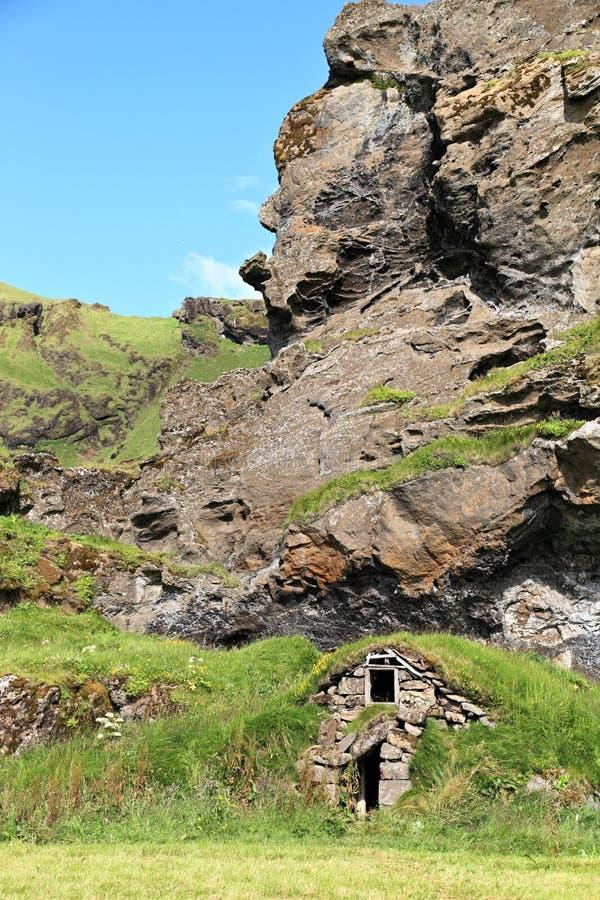 Традиционный дом дерновины, Исландия стоковое фото