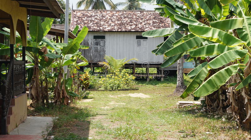 Традиционный дом Malay Terengganu стоковое изображение rf