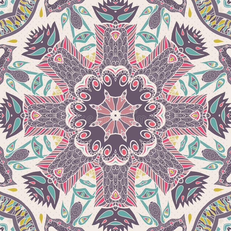 Традиционный орнаментальный пестрый платок Пейсли Предпосылка нарисованная рукой с художнической картиной Яркие цветы бесплатная иллюстрация