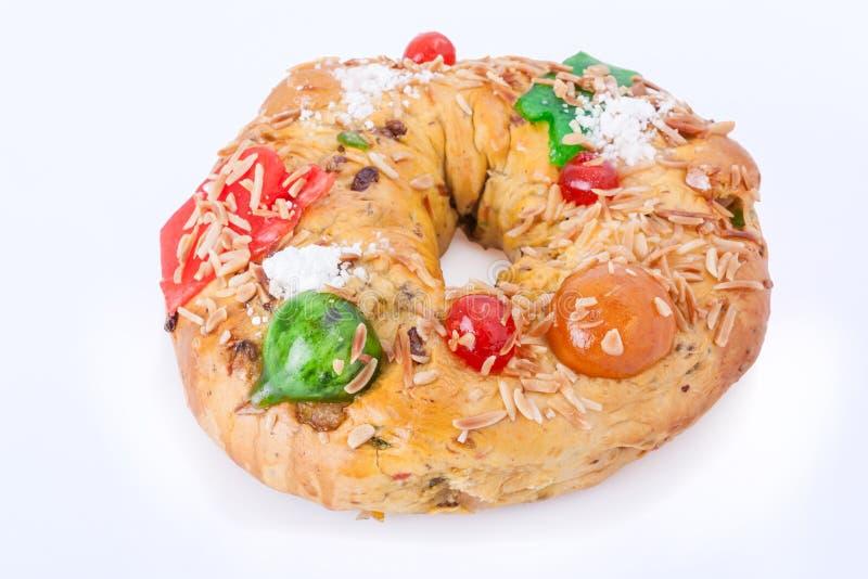 Традиционный португальский вызванный торт рождества, королем тортом Bolo Rei стоковое фото rf