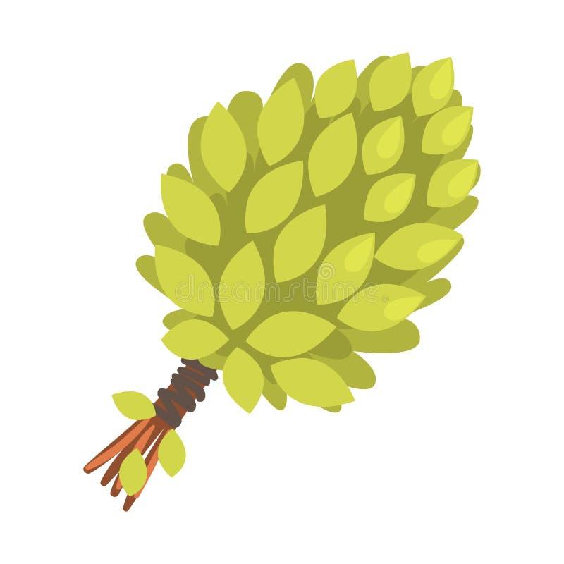 Традиционный пук хворостин, часть дерева березы русской серии дома пара плоских смешных иллюстраций шаржа иллюстрация штока