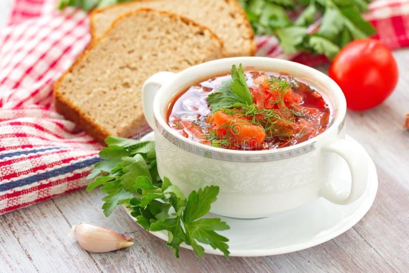 Традиционный русский украинский овощной суп стоковое фото rf