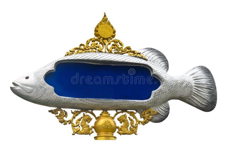 Традиционный тайский столб знака стиля в рыбах формирует стоковое изображение rf