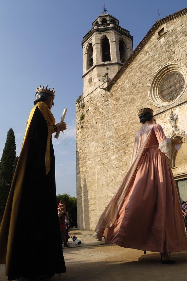 Традиционный танец гигантов в провинция Banyoles, Хероне, Catalo стоковые изображения rf