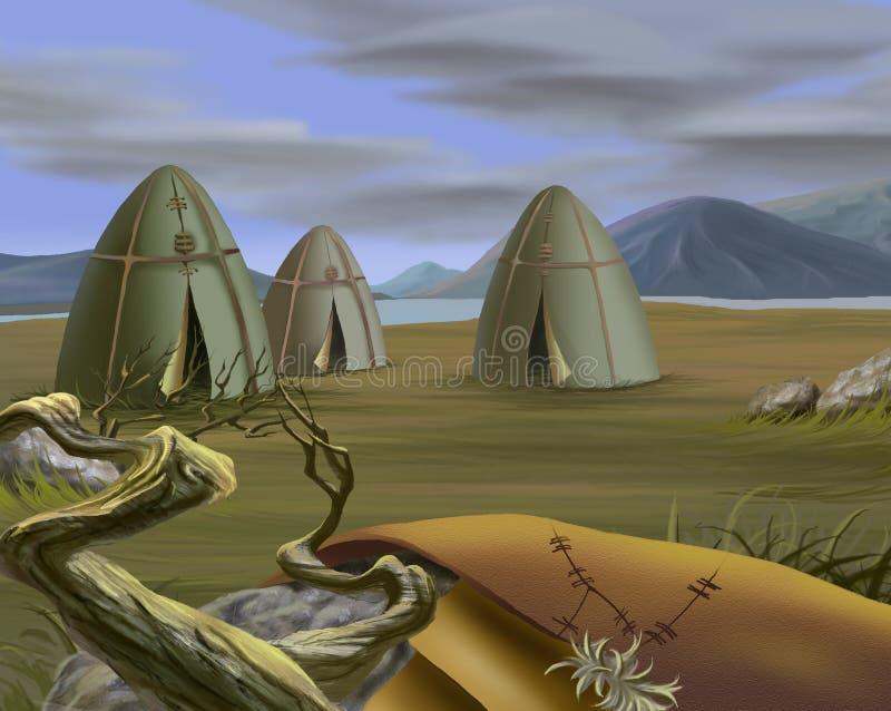 Традиционный шатер в тундре бесплатная иллюстрация