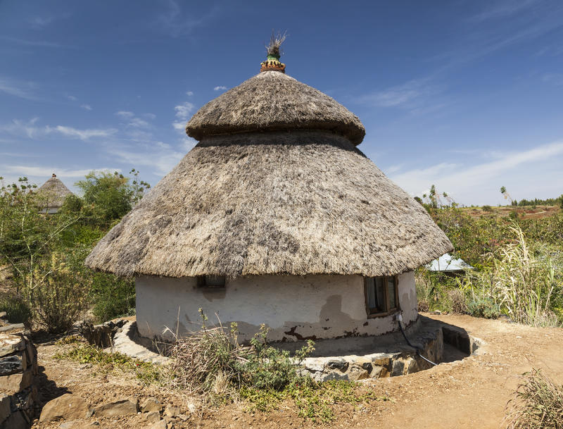 Традиционный эфиопский дом Карат Konso эфиопия стоковая фотография rf