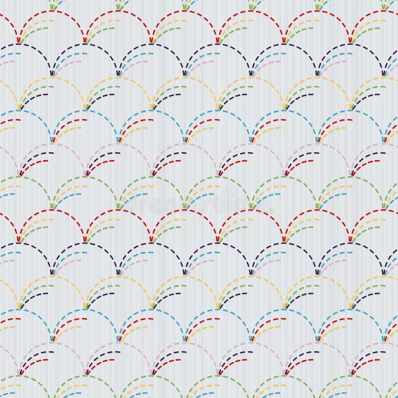 Традиционный японский орнамент вышивки с кругами Sashiko иллюстрация штока