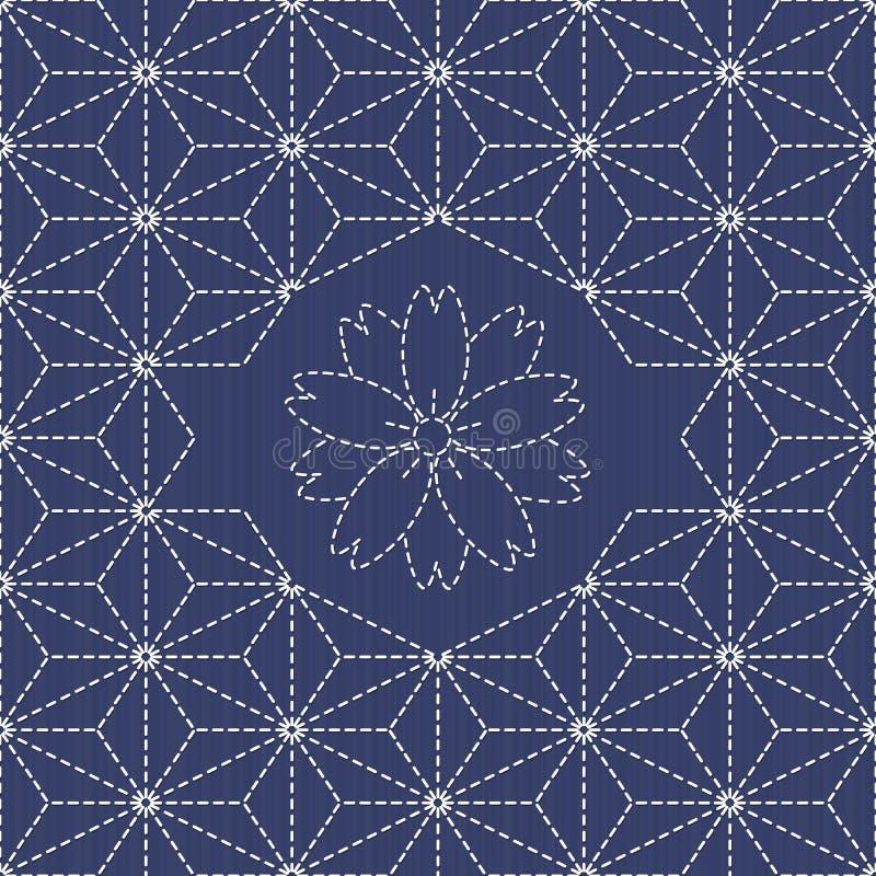Традиционный японский орнамент вышивки с цветком Сакуры Sashiko иллюстрация вектора