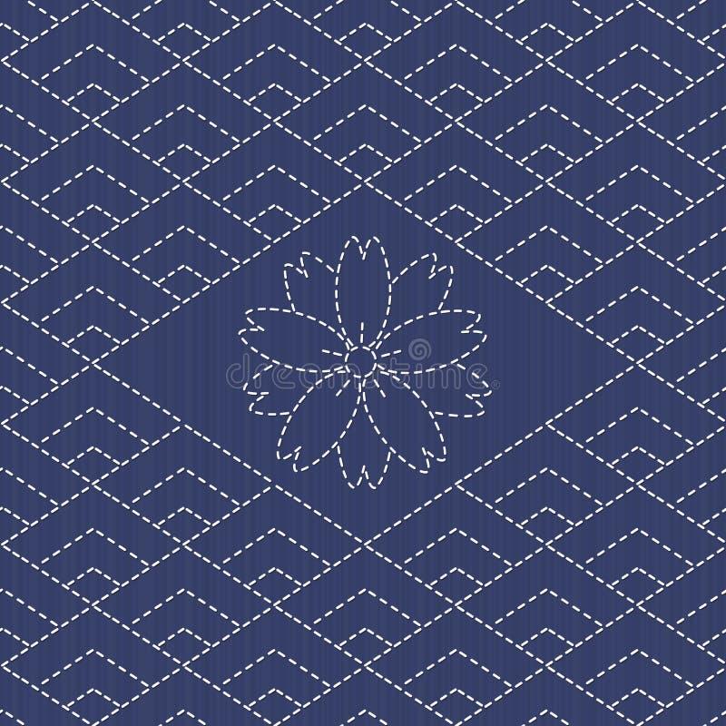 Традиционный японский орнамент вышивки с rhombs и Сакура цветут бесплатная иллюстрация