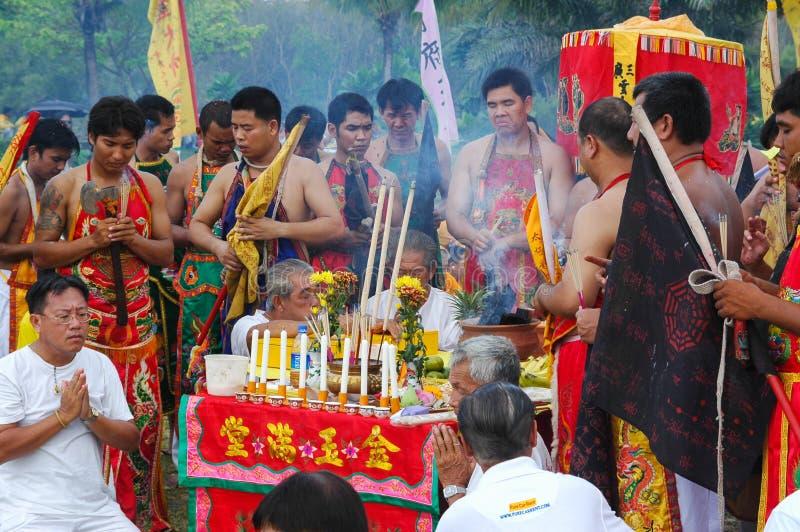 Традиция вегетарианского фестиваля Пхукета захолустная стоковая фотография