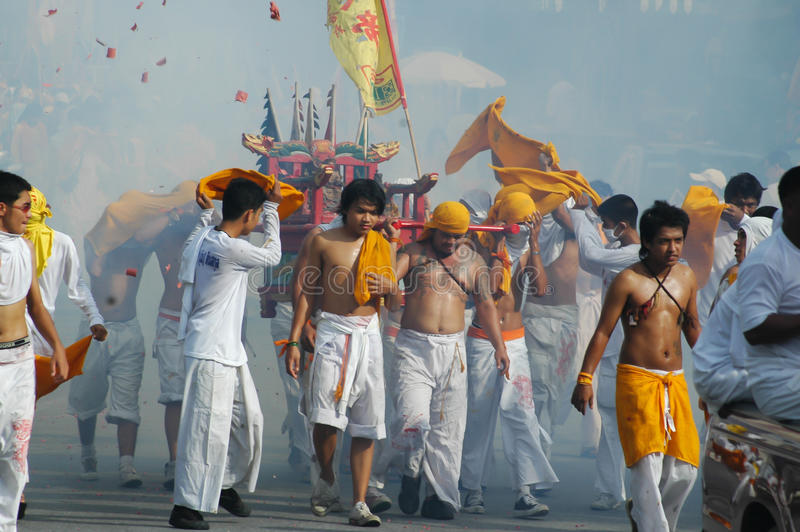 Традиция вегетарианского фестиваля Пхукета захолустная стоковое фото rf