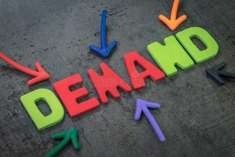 Требование, количества товара или концепция обслуживания, множественная стрелка указывая на красочный алфавит строя слово для тог стоковая фотография