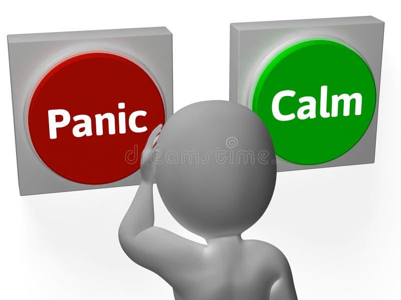 Тревожиться или безмятежность выставки кнопок паники спокойный бесплатная иллюстрация