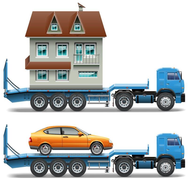 Трейлер вектора с домом и автомобилем иллюстрация вектора