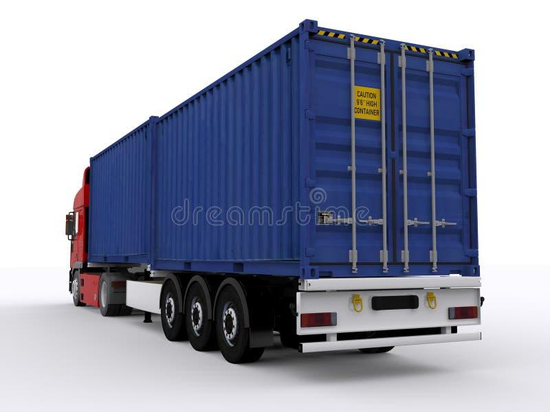 Трейлер нагруженный с контейнером иллюстрация штока