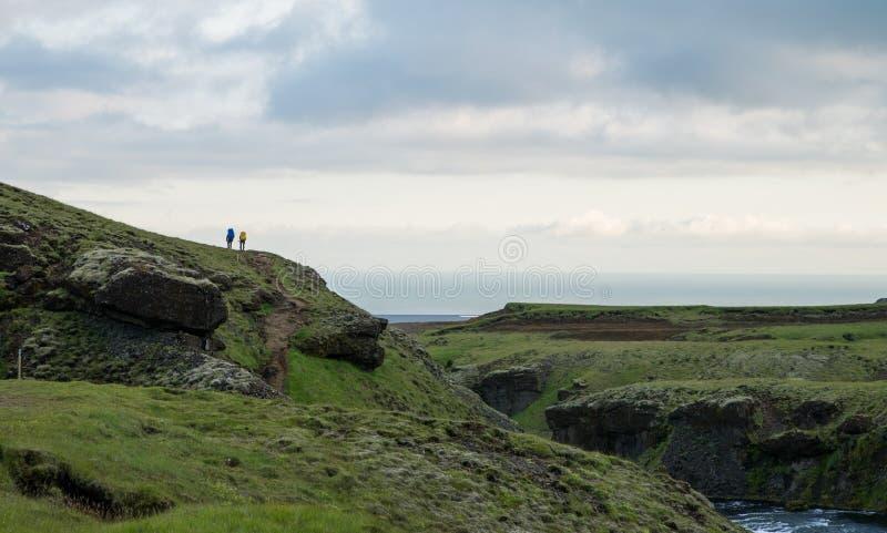 Трек Fimmvorduhals в Исландии стоковое фото