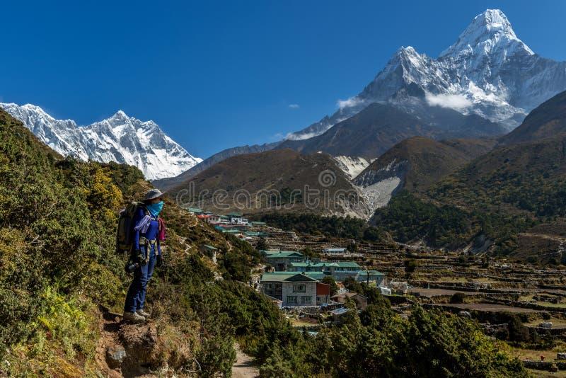 Трек Trekker на базовом лагере 3 everest передает дальше Lobuche к Gokyo, Непалу на зиме стоковое фото