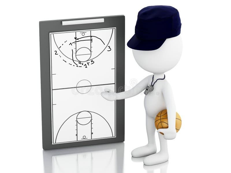 тренер белых человеков 3d с доской сзажимом для бумаги иллюстрация штока